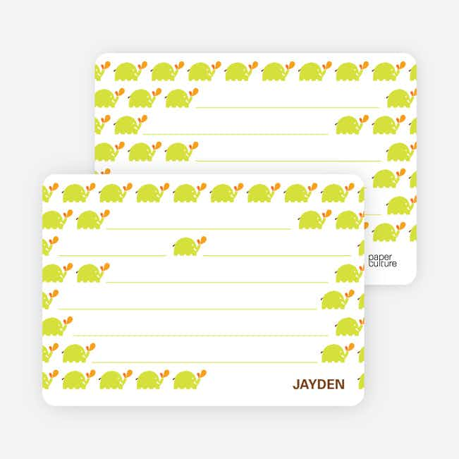 Personal Stationery for Modern Elephant Birthday Party Invitation - Chartreuse