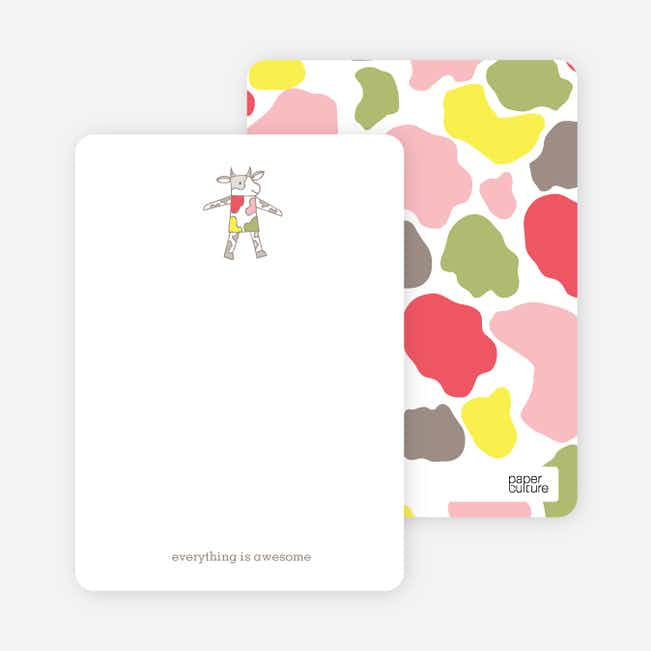 Stationery Featuring a Cow Saying Mooo - Gray Fade