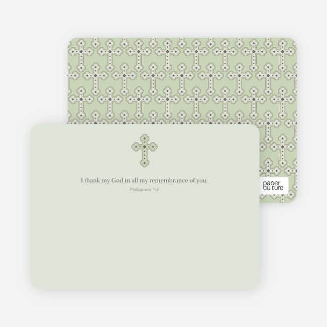 Stationery: 'Photo Card Holy Communion Invite' cards. - Light Sage