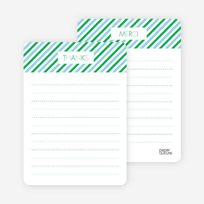 Thank You Card for Diagonal Stripes Modern Baby Announcement - Baby Blue