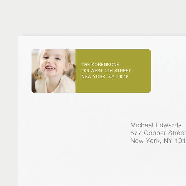 Chic Photo Return Address Labels - Green