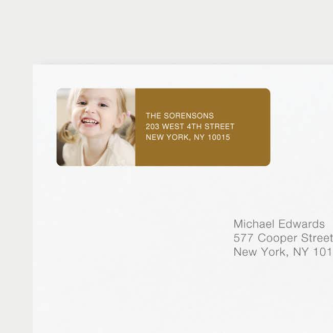 Chic Photo Return Address Labels - Brown