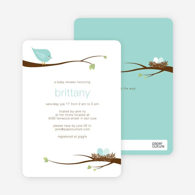 Whimsical Nesting Birds Baby Shower Invitations - Robins Egg
