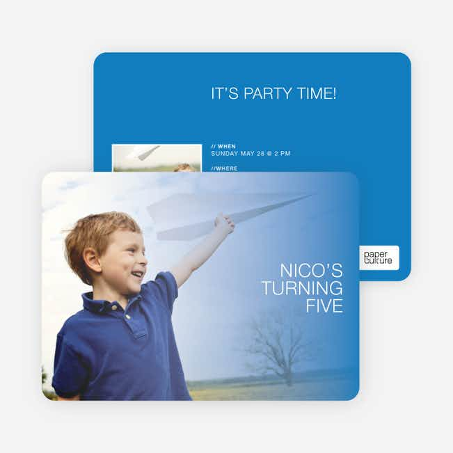 Color Focus Photo Birthday Party Invitations - Blue Shade