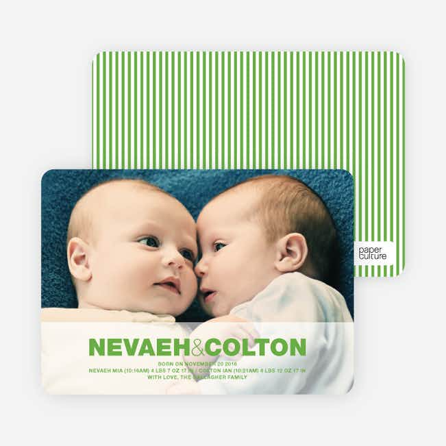 Cradle Talk Twin Photo Birth Announcements - Apple Green
