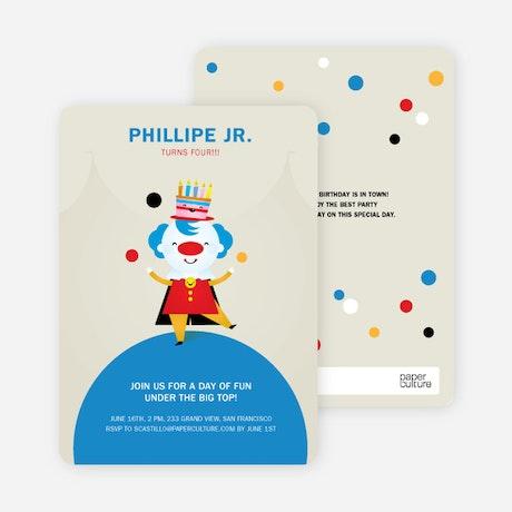 Juggling Clown Birthday Party Invitations – Clown Birthday Party Invitations