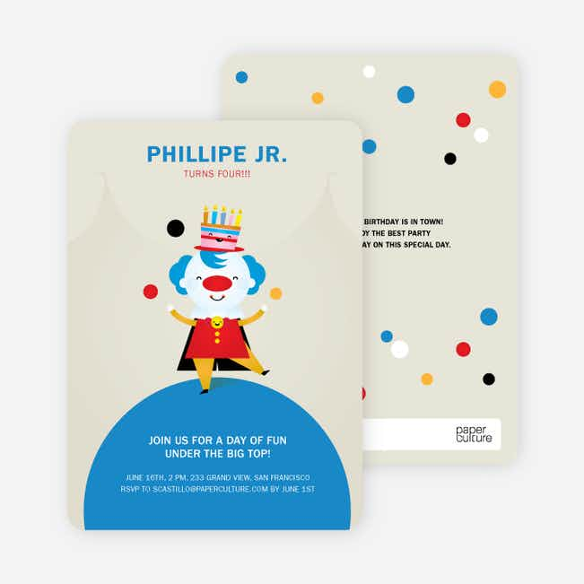 Juggling Clown Birthday Party Invitations - Mocha Coconut