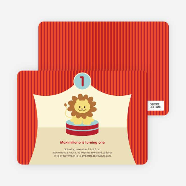 King of the Big Top Tent, Lion Birthday Party Invitations - Fire Roast