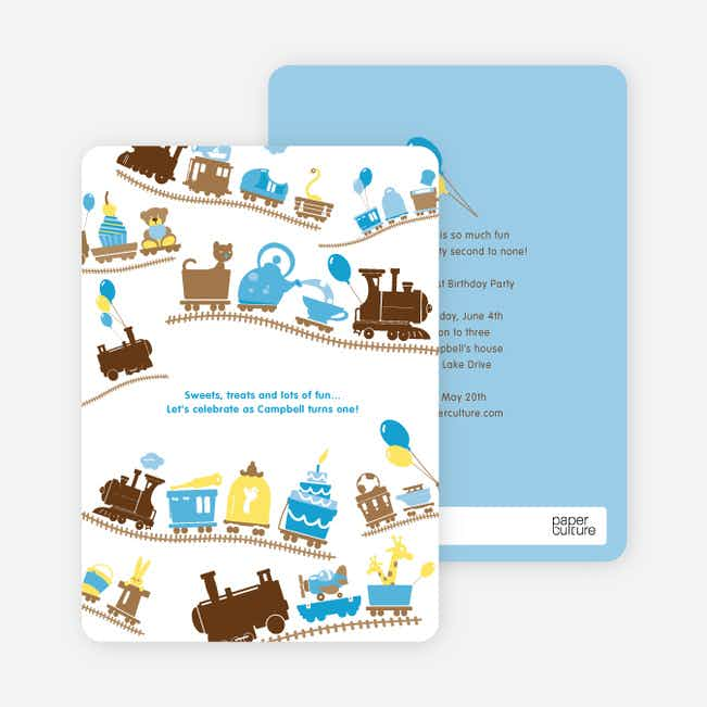 Little Engine that Would and Could Birthday Invitation - Chocolate Brown