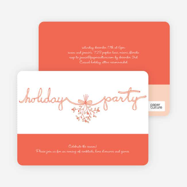 Mistletoe Ribbon Holiday Invitation - Orange Sherbet