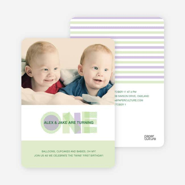 Modern Blue 1st Birthday Invitation - Light Lime