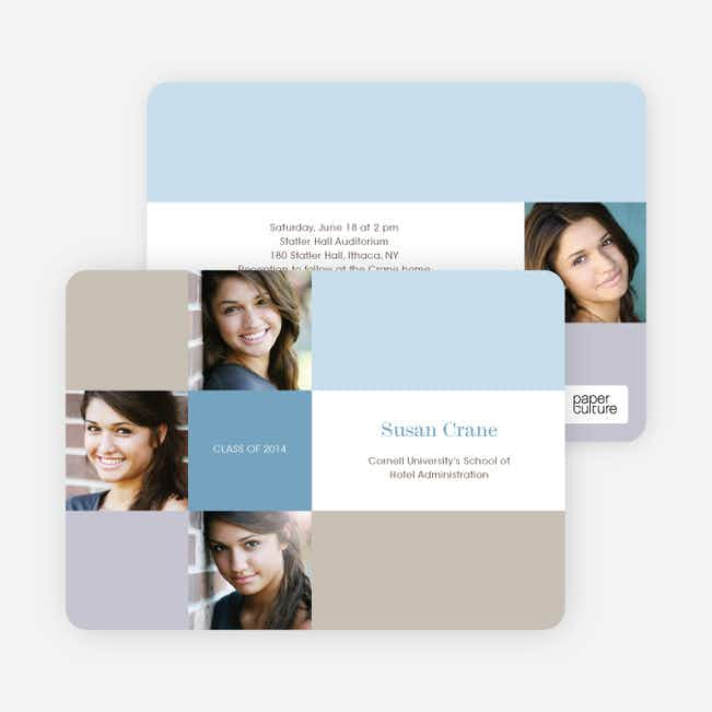 Photo Graduation Invitations and Announcements - Blue