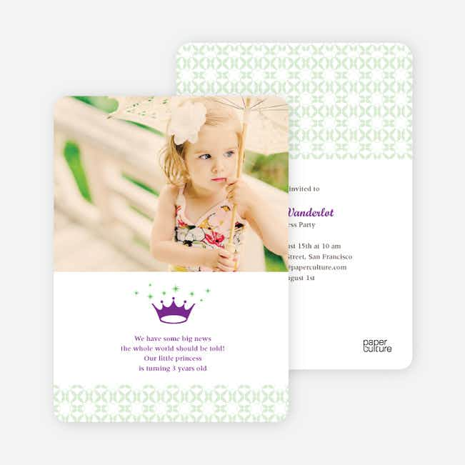 Princess Birthday Invitation - Royal Purple