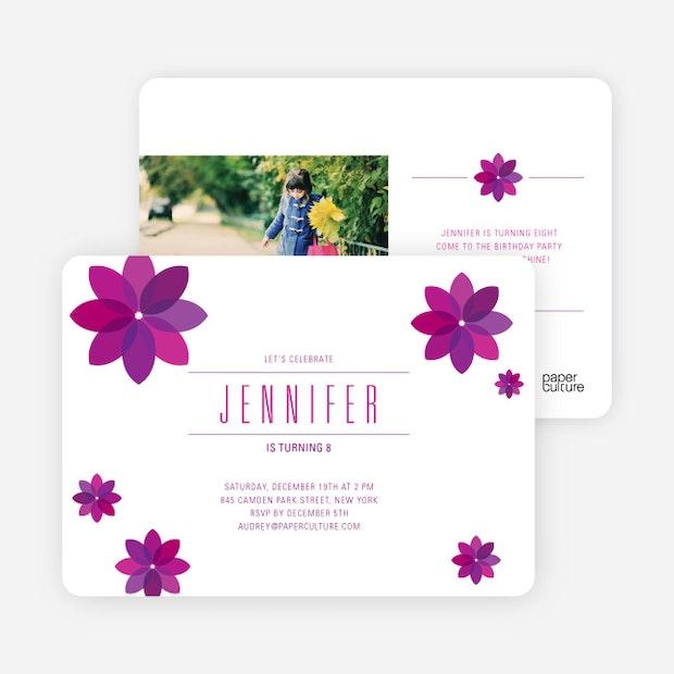 Purple flower modern birthday invitation paper culture mightylinksfo