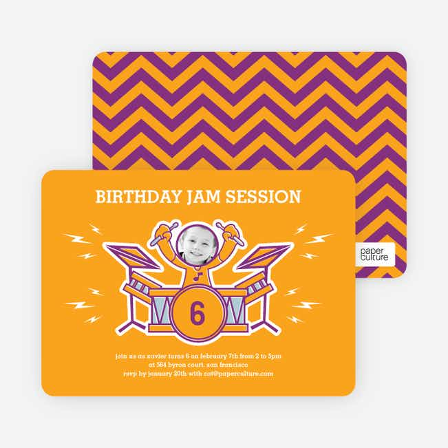 Rockstar Birthday Photo Invitations - Cheddar Jam