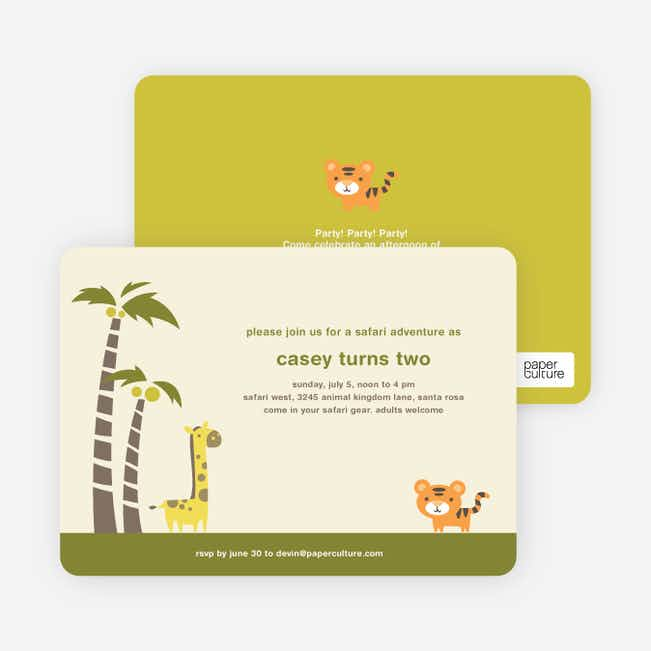 Safari Birthday Party Invitations - Palm Tree