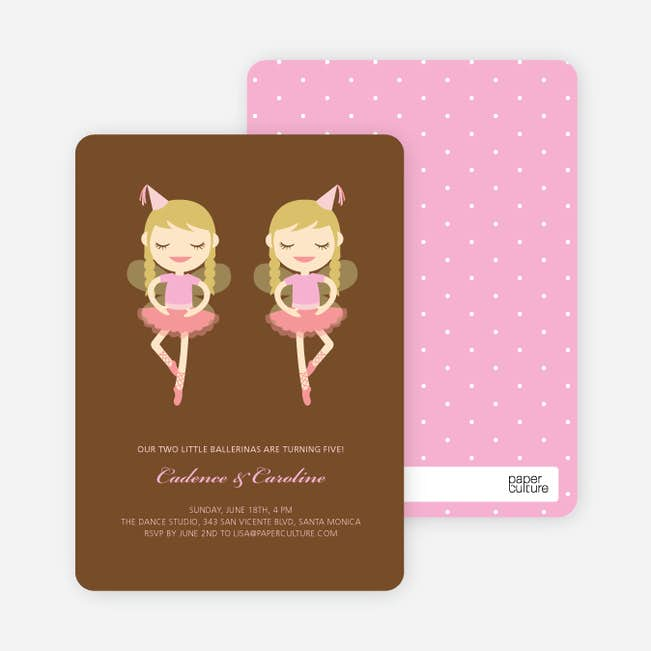 Twin girl birthday invitations paper culture twin ballerinas main filmwisefo