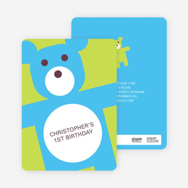 Cuddly Teddy Bear Birthday Party Invites - Light Lime