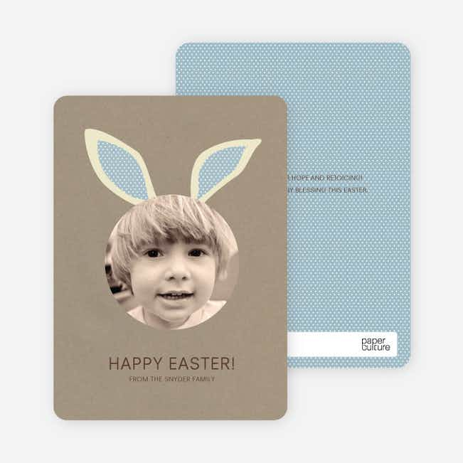 Bunny Ears Easter Photo Cards - Kelp