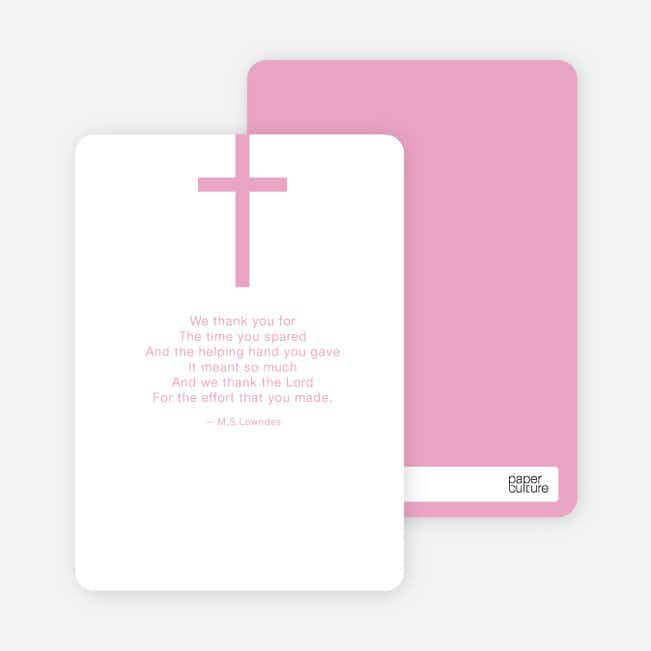 Stationery: 'Simple Cross Baptism' cards. - Pink