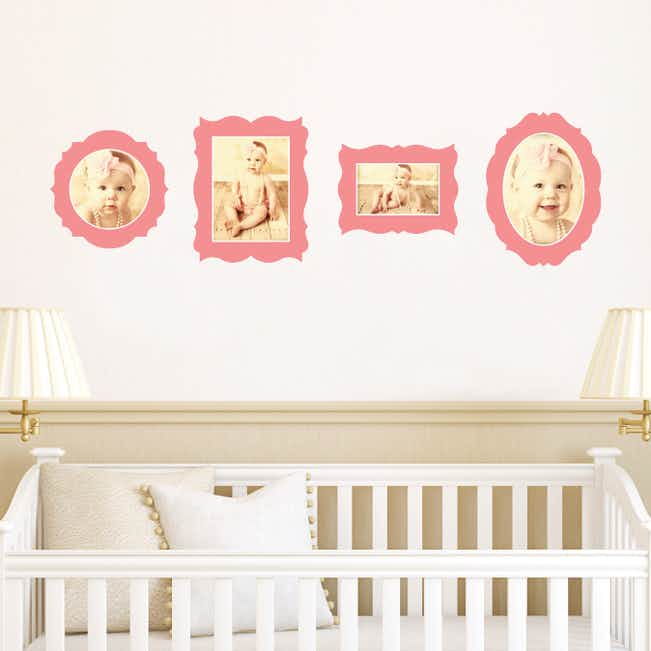 Antique Photo Frame Wall Decals - Pink