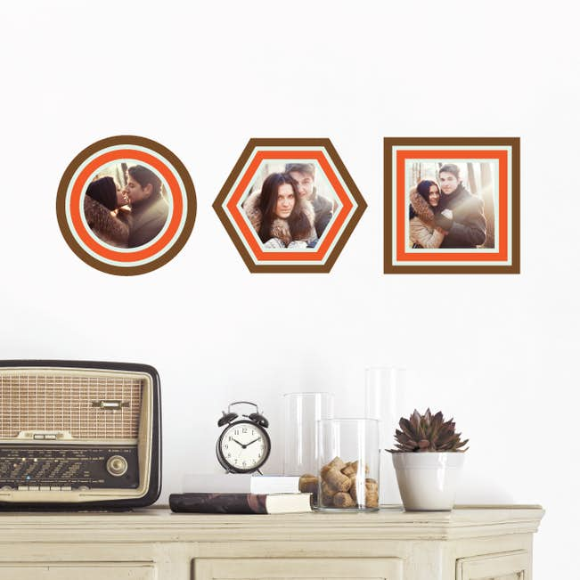 Circle, Hexagon and Square, Modern Stripe Photo Frame Decals | Paper ...