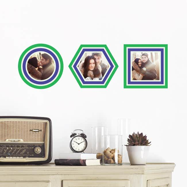 Circle, Hexagon and Square, Modern Stripe Photo Frame Decals - Green