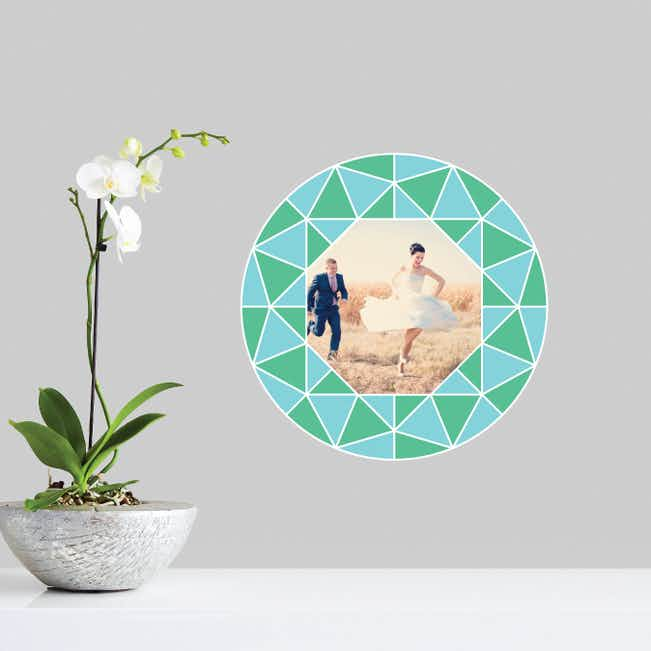 Circle of Diamonds Photo Wall Decals - Blue