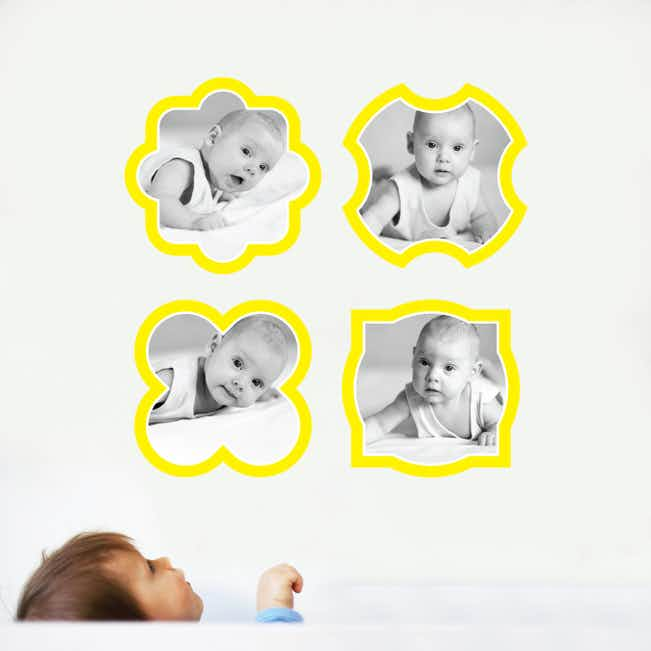 Fun, Modern Picture Frame Wall Decals - Yellow