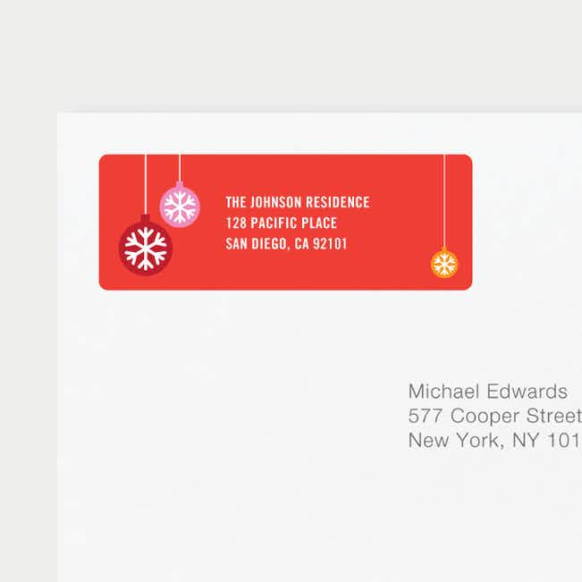 Ornaments Matching Address Labels - Red