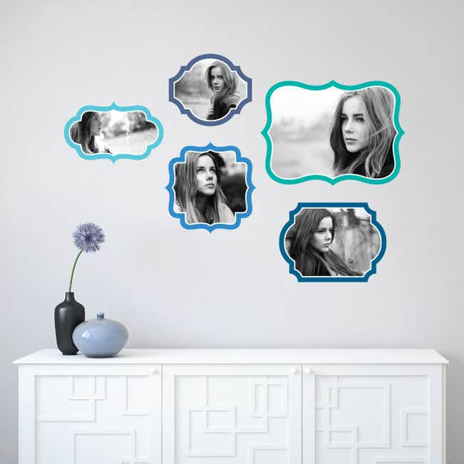 Retro Bracket Photo Frames - Blue