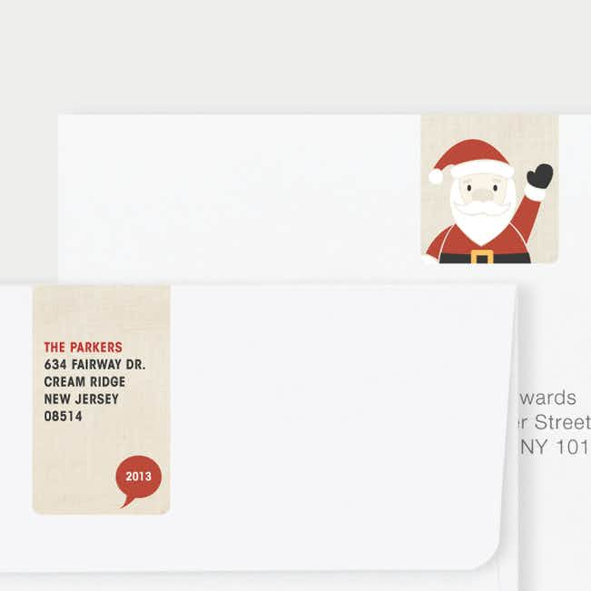 Santa Yo Matching Address Labels - Red