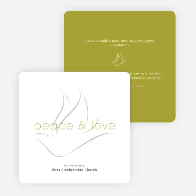 Dove of Peace and Love Religious Christmas Cards - Green