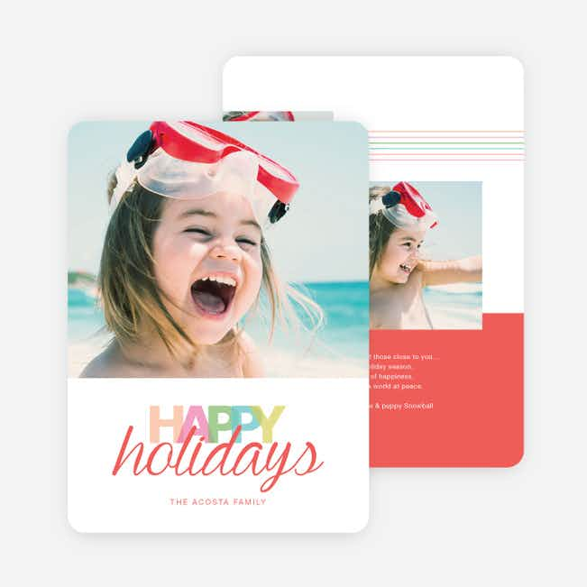 Whimsical Happy Holidays Cards - Red