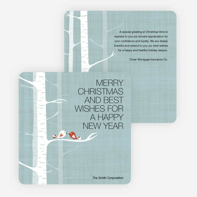 Bird Family Holiday Cards with Wishes for a Merry Christmas - Blue
