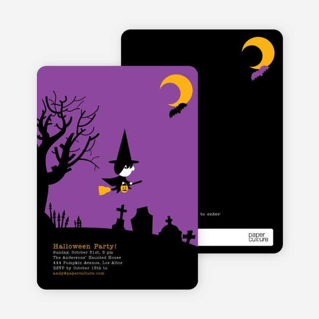 Wicked Witch Halloween Party Invitations - Purple