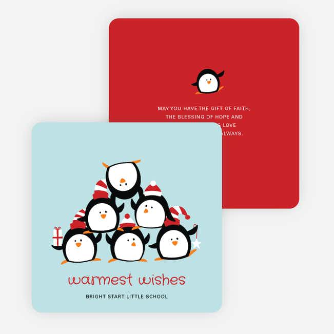 Penguin Pyramid Holiday Cards - Blue