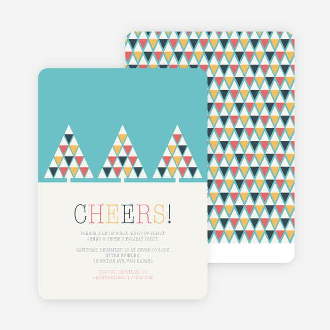 Geometric Trees Christmas Cards - Blue