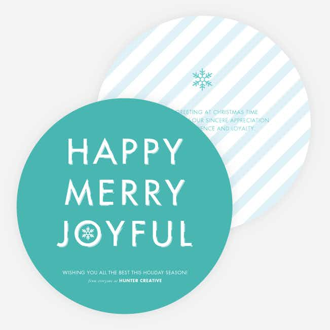 Happy, Merry, Joyful Striped Holiday Cards - Blue