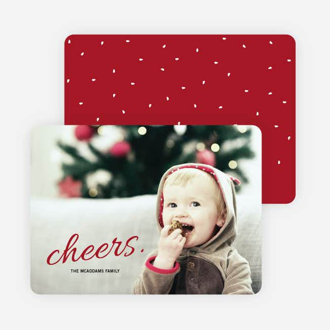 Cheers Snow Winter Photo Cards - Red