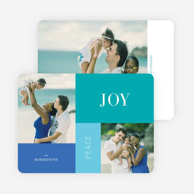 Joy, Peace & Love Blocks: Holiday Photo Cards - Blue