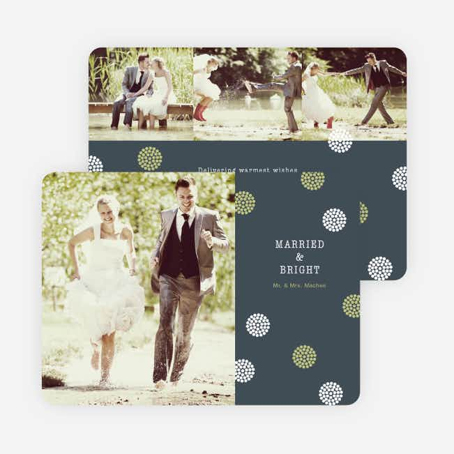 Just Married Holiday Cards: Married and Bright - Green