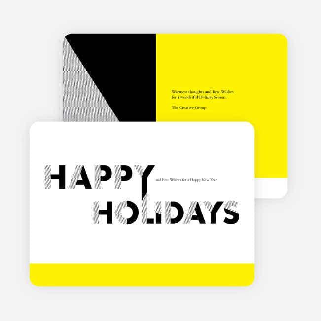 Bold, Modern Happy Holidays Cards for Businesses - Yellow