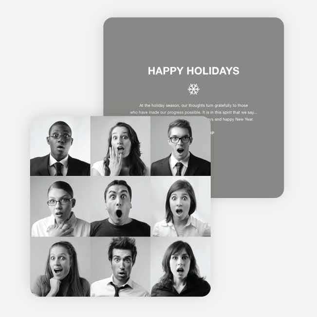 Brady Bunch Squares Holiday Cards for Small Business - Gray
