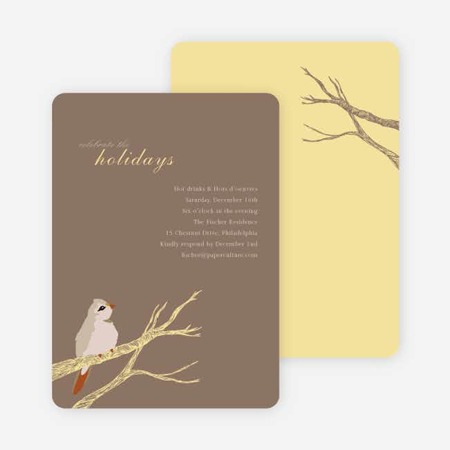 Bird on Branch Holiday Invitations - Cocoa