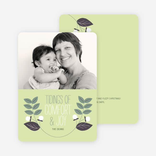 Holly Tidings Holiday Photo Cards - Pale Celery