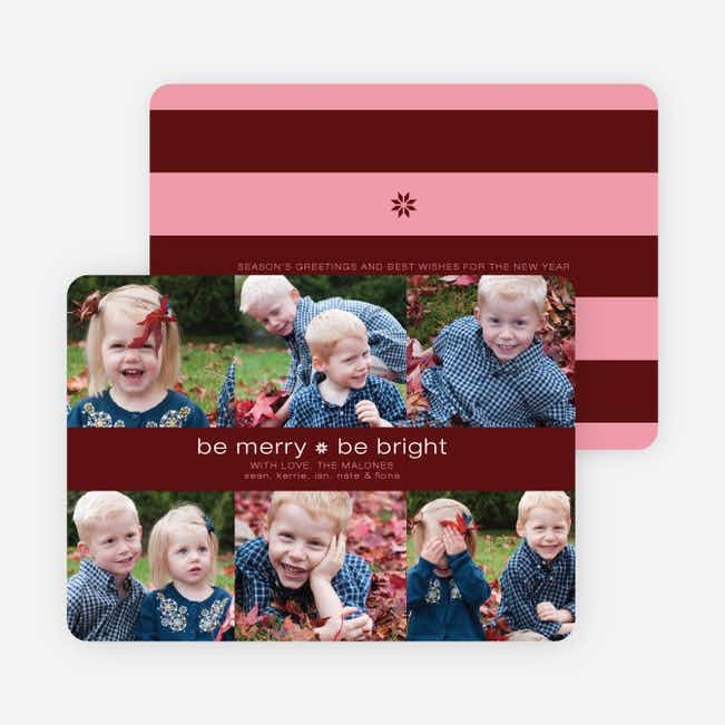 Merry and Bright Holiday Photo Cards - Maroon