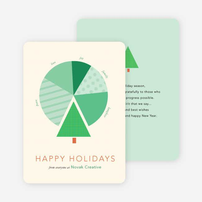 Tree Pie Chart for Business Holiday Cards - Green