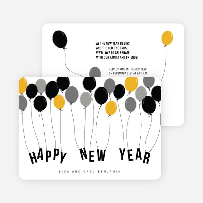 Balloon Themed New Year S Party Invitations Paper Culture