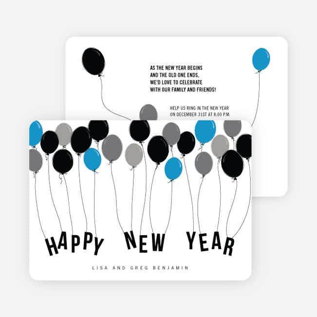 Balloon Themed New Year's Party Invitations - Blue